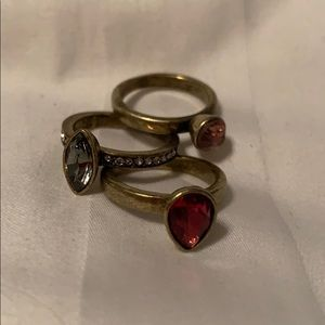 Trio of berry colored rings, antique gold